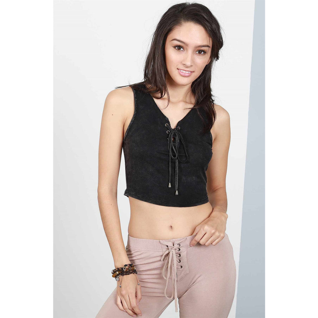 Black Distressed Lace Up Crop Top