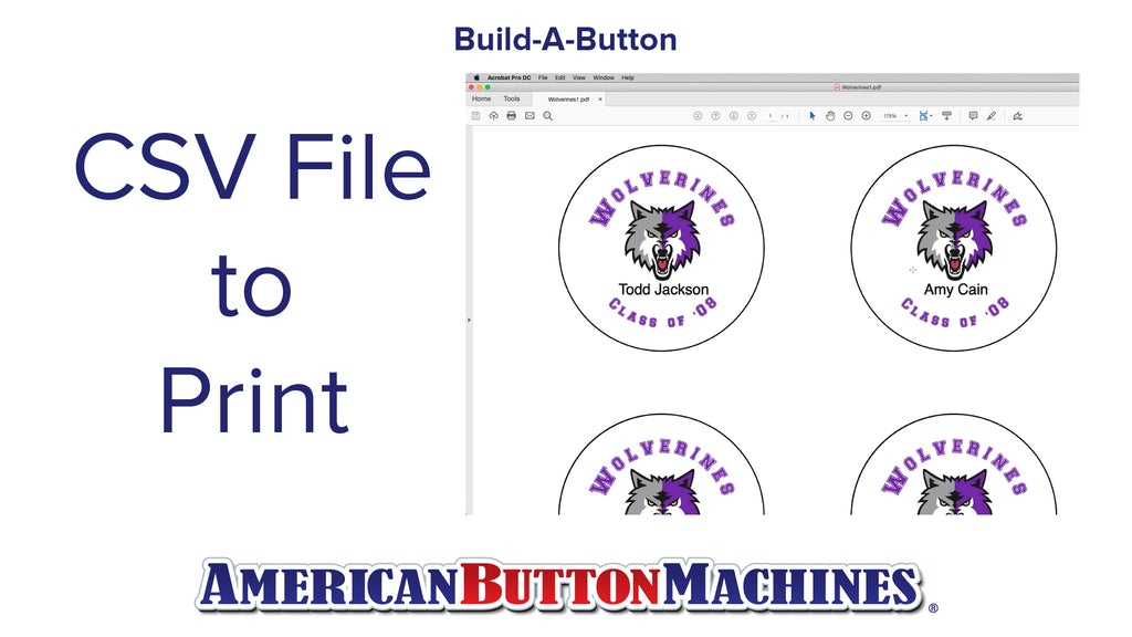 CSV File to Print - Mail Merge Feature - Build-a-Button - Button Maker Software