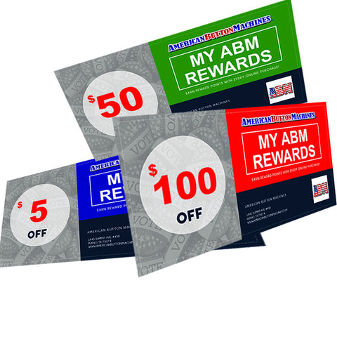 American Button Machines Customer Reward Points