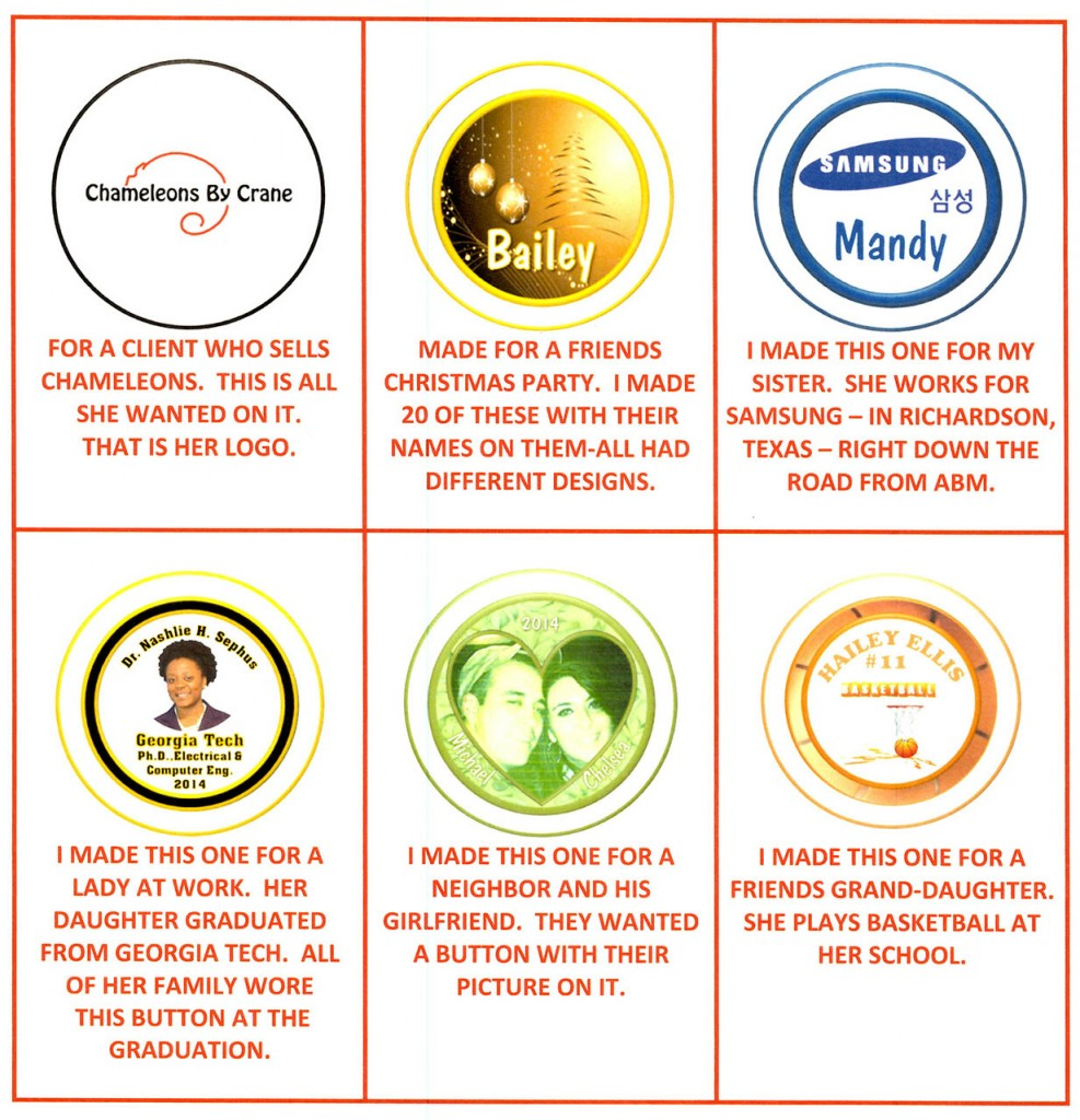 Button Designs by Exclaim Graphics