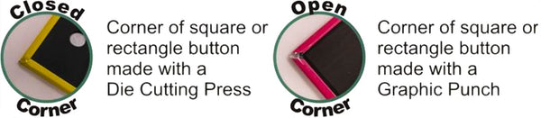 the difference between open and closed corners for square pinback buttons