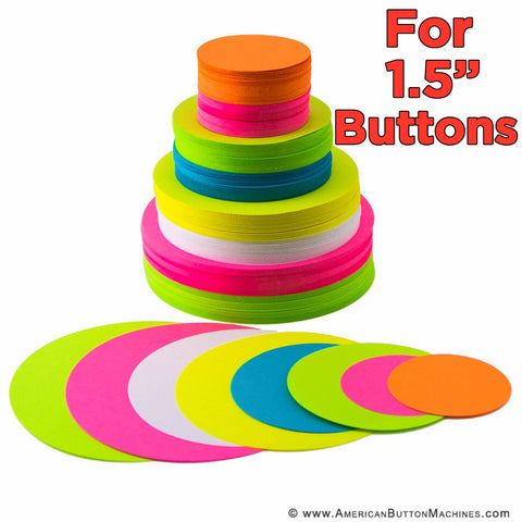 "Pre-Cut Paper Circles for 1.5"" Buttons - American Button Machines"