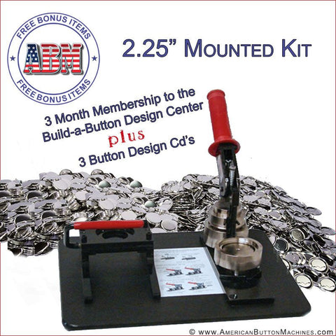 "2.25"" Mounted Button Making Kit - American Button Machines"