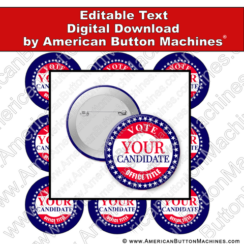Campaign Button Design - Digital Download for Buttons - 110