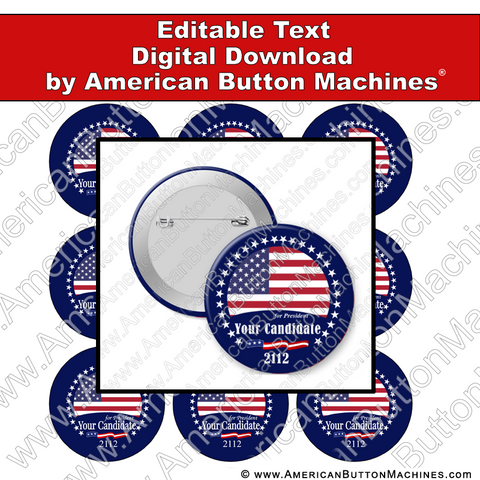 Campaign Button Design - Digital Download for Buttons - 109