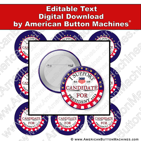 Campaign Button Design - Digital Download for Buttons - 111