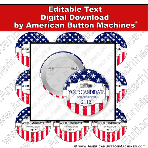 Campaign Button Design - Digital Download for Buttons - 113