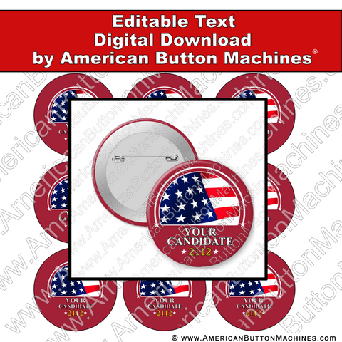 Campaign Button Design - Digital Download for Buttons - 117