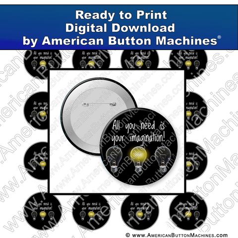 Digital Download, For Buttons, Digital Download for Buttons, Imagination, creativity, learning