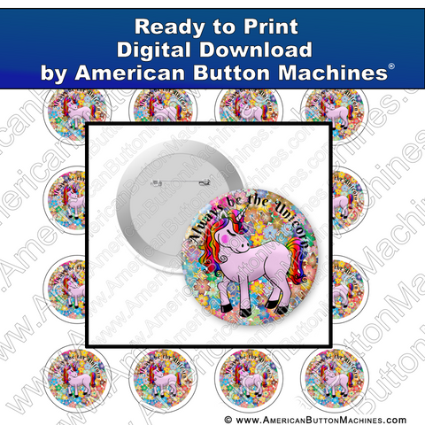 Digital Download, For Buttons, Digital Download for Buttons, unicorn, pink, flowers, rainbow