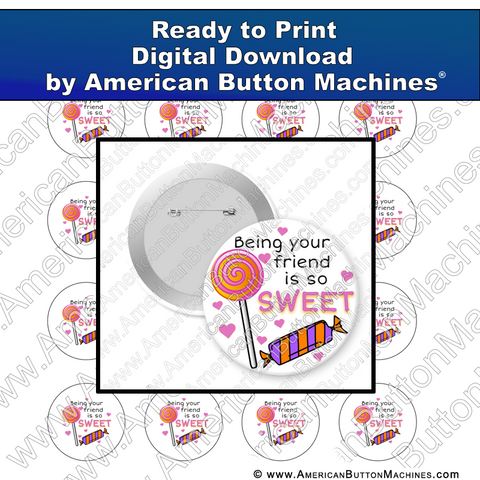 Digital Download, For Buttons, Digital Download for Buttons, candy, friends, sweet
