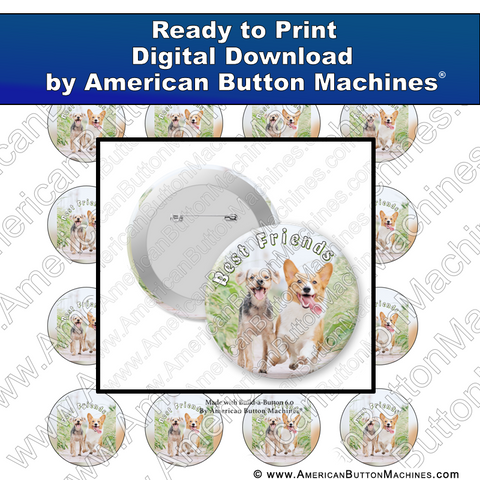 Digital Download, for buttons, digital download for buttons, friends, pups, happy, dogs