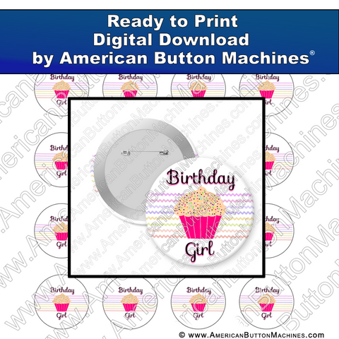 Digital Download, for buttons, digital download for buttons, birthday, cupcake
