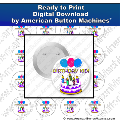 Digital Download, for buttons, digital download for buttons, birthday, kid