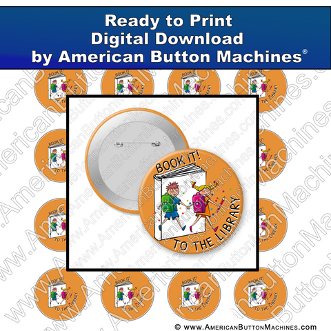 Digital Download, For Buttons, Digital Download for Buttons, books, library, learning, school