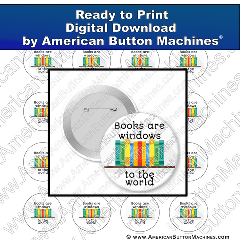 Digital Download, for buttons, digital download for buttons, books, reading, library
