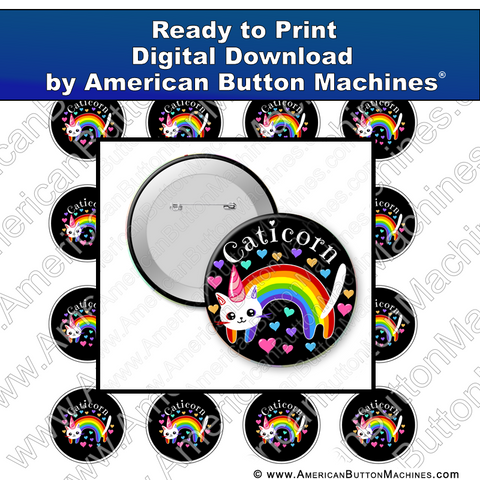 Digital Download, For Buttons, Digital Download for Buttons, unicorn, cat, rainbow