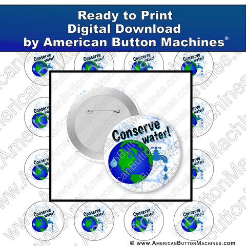 Digital Download, Digital Download for Buttons, conservation, water, environment