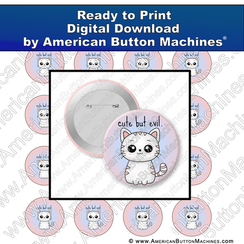 Digital Download, For Buttons, Digital Download for Buttons, cat, kitty, kitten