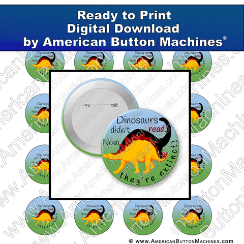 Digital Download, For Buttons, Digital Download for Buttons, dinosaur, dino, reading, books, library, school