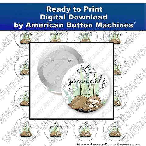Digital Download, For Buttons, Digital Download for Buttons, sloth, rest