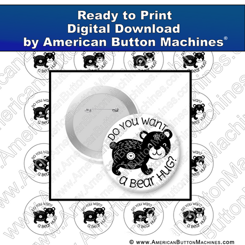 Digital Download, For Buttons, Digital Download for Buttons, bear, hug, love