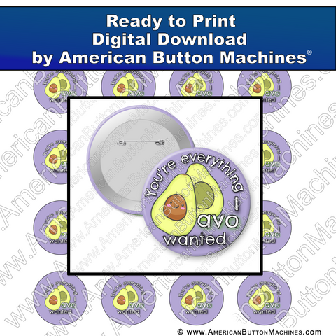 Digital Download, For Buttons, Digital Download for Buttons, avocado, everything
