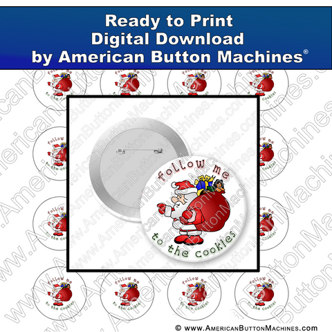 Digital Download, for buttons, digital download for buttons, Christmas, Santa, Cookies, Holidays