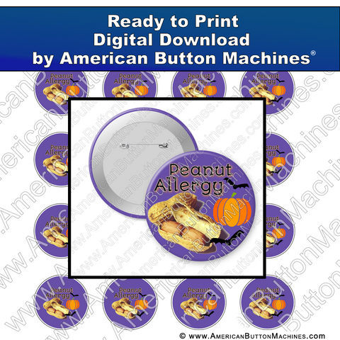 Digital Download, For Buttons, Digital Download for Buttons, Halloween, peanut allergy, allergy, nuts, trick or treat