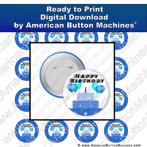 Digital Download, for buttons, digital download for buttons, birthday, blue