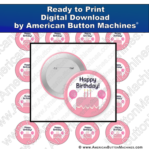 Digital Download, for buttons, digital download for buttons, birthday, pink