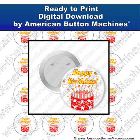Digital Download, for buttons, digital download for buttons, birthday, cake, red