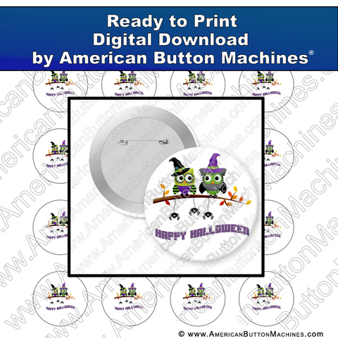 Digital Download, For Buttons, Digital Download for Buttons, , Halloween, Owls, Witch