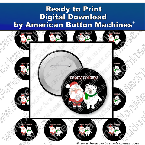 Digital Download, for buttons, digital download for buttons, Santa, Holidays, Christmas