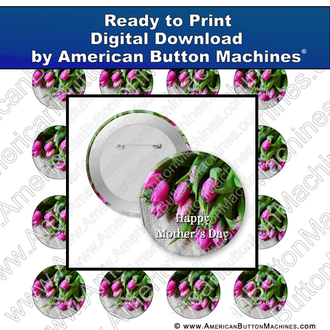 Digital Download, For Buttons, Digital Download for Buttons, , tulips, mother, mom, mothers day