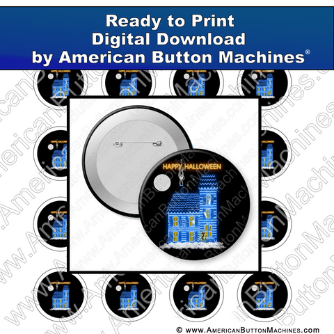 Digital Download, For Buttons, Digital Download for Buttons, Haunted House, Halloween