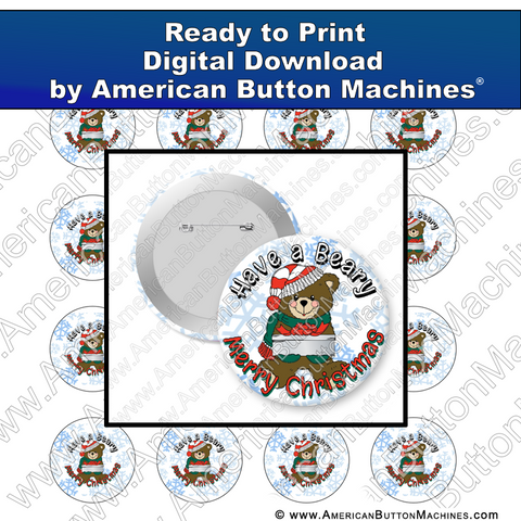 Digital Download, For Buttons, Digital Download for Buttons, teddy bear, Christmas, Holidays