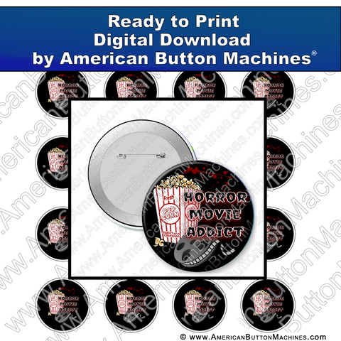 Digital Download, for buttons, digital download for buttons, horror movie, movie addict, scary