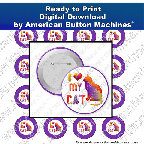Digital Download, For Buttons, Digital Download for Buttons, cat, love