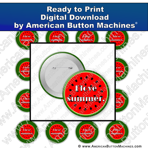 Digital Download, for buttons, digital download for buttons, watermelon, summer