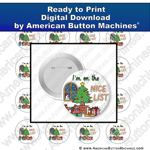 Digital Download, For Buttons, Digital Download for Buttons, Christmas, holidays, naughty, nice, Santa