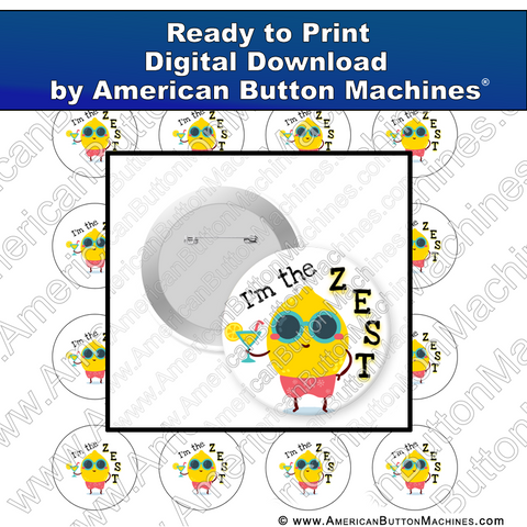 Digital Download, for buttons, digital download for buttons, Summer, Lemon, Zest