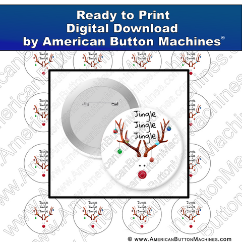 Digital Download, For Buttons, Digital Download for Buttons, reindeer, rudolph, jingle bells