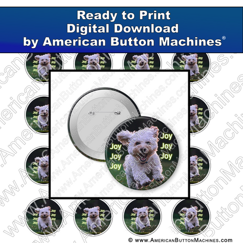 Digital Download, for buttons, digital download for buttons, Joy, Puppy, Run Free