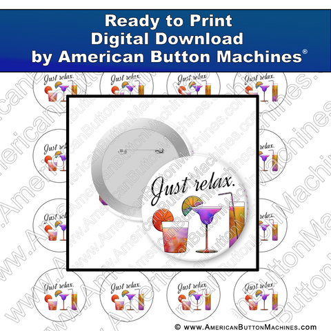 Digital Download, for buttons, digital download for buttons, relax, cocktail, vacation