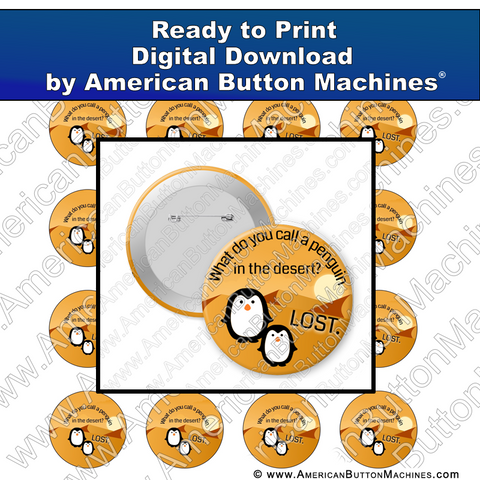 Digital Download, Digital Download for Buttons, penguin