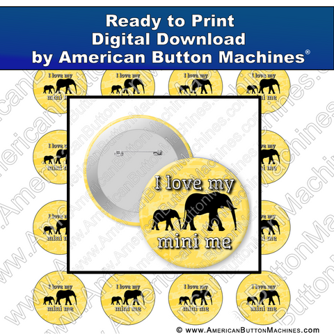 Digital Download, for buttons, digital download for buttons, mini me, baby, kids, elephant