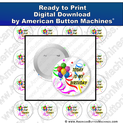 Digital Download, Digital Download for Buttons, birthday, my birthday