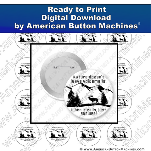 Digital Download, for buttons, digital download for buttons, Nature, Nature Calls