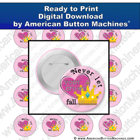 Digital Download, for buttons, digital download for buttons, crown, Princess